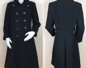 60s Black Double Breasted Wool Knee Length Coat, Size Medium