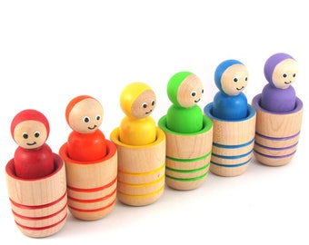 Rainbow Peg Dolls in Pots - Peg dolls and Cups - Peg doll learning toy