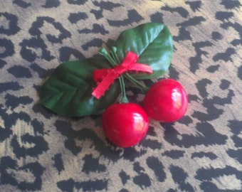 Cherry Hairclip . Retro Rockabilly Pinup Barrette with Juicy Red Cherries & Red Bow