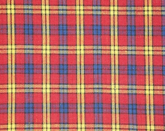 Homespun Material | Cotton Material | Quilt Material | Craft Material | Home Decor Material | Large Plaid Material Red Royal Yellow Black
