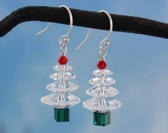 Winter White Swarovski Crystal Christmas Tree Earrings- sterling silver or gold hooks, clear, red + green crystals - free shipping USA