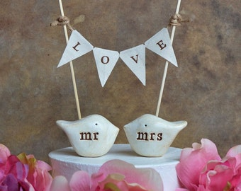 Wedding cake topper birds cake topper love birds wedding birds rustic cake topper wedding cake birds bride and groom mr mrs & LOVE banner
