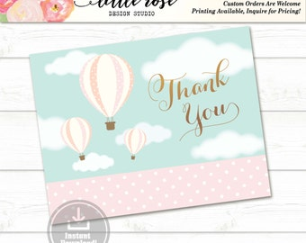 Thank You Card Hot Air Balloons - Printable Thank You Card - Baby Shower Thank You Card - Bridal Shower - Any Occasion - LR1003
