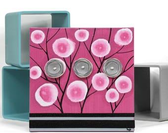 Small Wall Art Canvas, Fuchsia Poppy Flower Painting, Pink and Black Mixed Media Canvas Art - 10x10