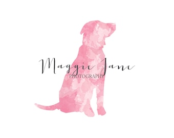 Pet Photography logo - Watercolor Logo - Photography logo - Custom Premade Logo - Dog Lab Logo Watermark- Business Logo Pink Watercolor Logo