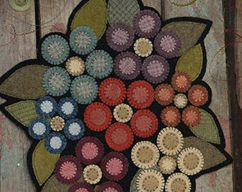 "Floral ""Jenny Penny Wool Table Mat"" Pattern - from The Little Red Hen - 12"" flower penny rug - Fun project~"