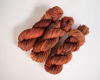 Worsted weight yarn, copper yarn, tonal yarn, knitting yarn, worsted yarn, superwash merino, hand dyed yarn, kettle dyed, copper penny