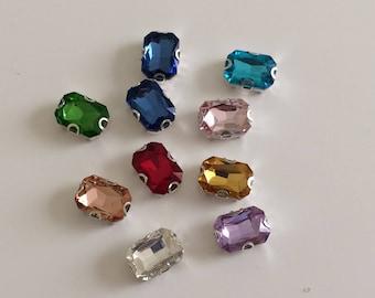 Rhinestone sertisse 10 * 14 has sew multicolor Crystal