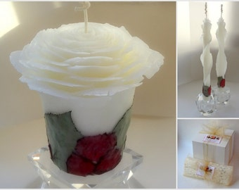 Beeswax Rose Unity Candle, Beauty and the Beast Wedding, Fairytale Wedding Decor, Romantic Wedding Unity Candle Set, You Pick Petal Color
