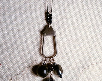 Long Funky Black Charm Dangle Necklace with Beaded Chain