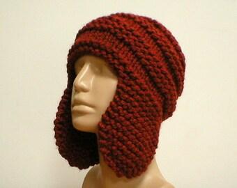 Rust copper brown ear flap hat, trapper cap, mens womens knit hat, winter hat, toque, winter hat, beanie hat, ski toboggan, brown knit hat