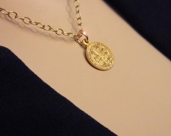 GOLD St. Benedict SUPERIOR QUALITY Tiny Dainty Medal Pendant Gold Filled Chain Gold Vermeil Pendant Necklace Highly Detailed San Benito