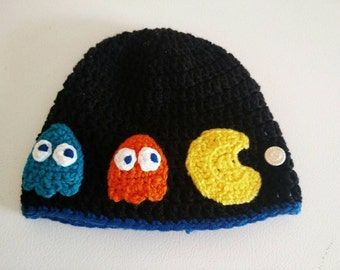 Pack-man and ghosts crochet hat