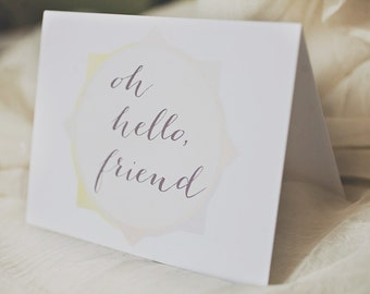 Oh, Hello Friend Card, Greeting Card
