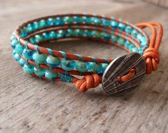 Wrap Bracelet - Beaded Bracelet - Leather Bracelet - Boho Bracelet - Beaded Jewelry - Turquoise Jewelry - Aqua and Turquoise Beaded Bracelet