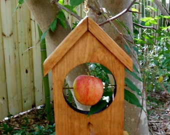 Handcrafted Bird Feeder, apples or suet, small bird feeder, garden feeder, orioles