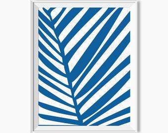 PALM LEAF PRINT, Palm Tree Decor, Tropical Decor, Botanical print, Blue leaf print, Blue botanical art, affiche palmier, affiche tropical