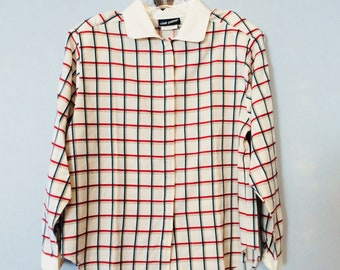 1980s Plaid 9 to 5 Blouse