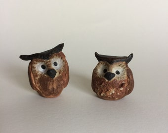 Wee Ceramic Owls for Terrarium, Teacup Garden, Fairy Garden