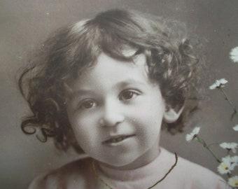 old postcard of a sweet little girl, vintage postcard