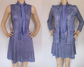 Vintage Mini Dress / Dot Dress / 60s 70s MOD Dress / Polka DOT Dress / Empire Waist / Fit n Flare / Go Go Mini Dress / 2pc Set