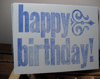 Happy Birthday Block Art Deco Letterpress Card -blue ~ Handmade ~ FREE shipping within the US ~