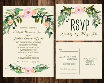 Spring Bohemian Wedding Invitations; Blush & Ivory; Printable OR set of 25
