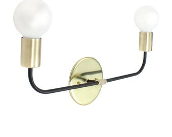 U-Post Brass and Matte Black Arms Double Arm Wall Sconce Wall or Ceiling Mount Hard Wire Interior Design Modern Handmade USA - Free Shipping