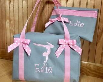 Ballet-Gymnastics duffle bag Personalized embroidered Gray duffle bag with pink straps and bows/Three sizes/ Gymnastics-Ballet-Dance-Cheer