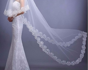 Bridal Cathedral Veil / White / Ivory