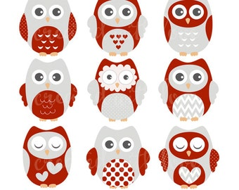 Red and Grey Owl Clip Art Set  / Owl Illustration / Printable Clip Art / Commercial / Red and Grey Owls / Blog Design