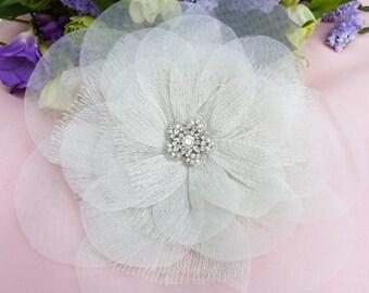 Tulle flower pin, fabric flower brooch, flower hair comb, flower hair clip, flower pin, wedding comb, wedding brooch