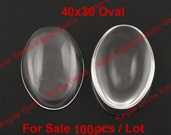 Sale 100pcs 40x30mm Oval Clear Glass Cabochon Wholesale