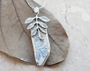 Leaves Beach Pottery Necklace Soldered Sea Treasures