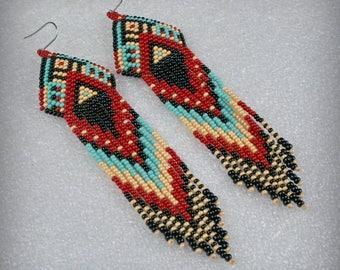 Fringe earrings , Long Indian style beaded earrings , tribal , Ethnic , boho style , Native American Beaded Earrings , Long  beaded earrings