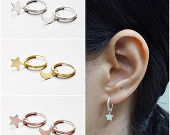 925 Sterling Silver Hoop Earrings, Star and Moon Earrings, Gold Plated Earrings, Rose Gold Plated Earrings, Hoop Earrings (Code : CH12A)