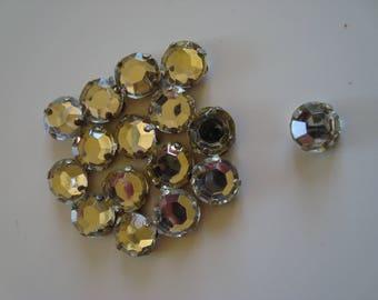 15 rhinestone Crystal mounted on kitten silver 4 claw 9 mm in diameter