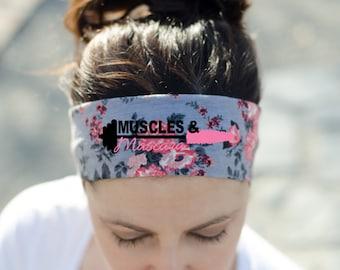 Workout Headband - Fitness Headband - Exercise Headband - Crossfit Headband - Muscles and Mascara Headband - Womens Workout Gear - Headband
