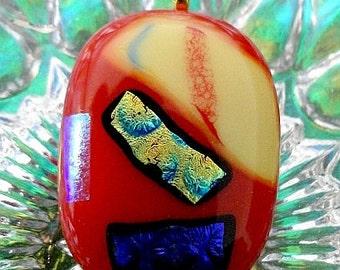 Dichroic Fuse Glass Pendant-Coral Sassy