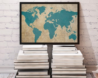 Vintage Teal World Map 8x10 or 11x14