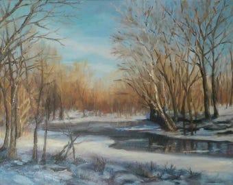 "Oil Painting ""Deer Run""  Bucks County Pennsylvania Original"