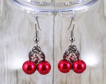 Cherry Earrings | Red Earrings | Red Pearl Earrings | Matching Bracelet in Shop | Jewelry Gift for Her Under 25 Dollars | Gift for Mom