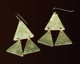 Triangle brass dangle geometric 60's mod earrings