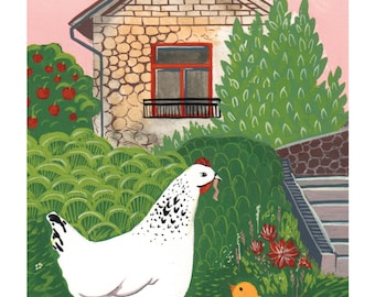 On the yard: house with mother hen and chic