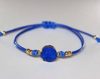 Blue Druzy Bracelet, Druzy Jewelry, Boho Bracelet, Dainty Bracelet