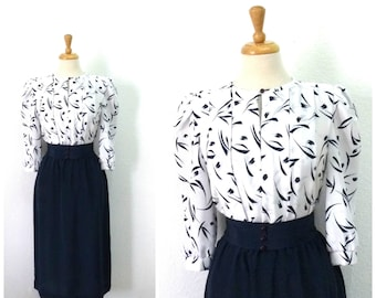 Vintage 1970s dress Navy and white Abstract print Button Up Dress