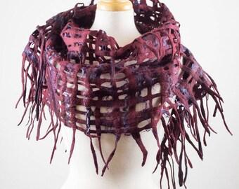 Felted Scarf Grid, hand dyed, silk and wool, burgundy, purple, Lace, Hole, lattice scarf, felt