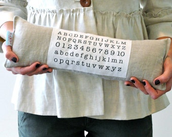 nursery linen pillow with alphabet and numbers. baby nursery pillow
