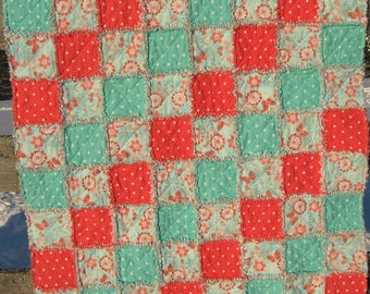 Coral and Aqua Flannel Rag Quilt with flowers, butterflies and polka dots