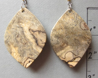 Unusual Sindora Burl Large Exotic Wood Earrings repurposed ecofriendly Handcrafted ExoticWoodJewelryAnd